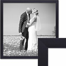 PHOTOLINI Bilderrahmen 40x40 cm Schwarz Modern aus
