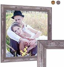Photolini Bilderrahmen 40x40 cm Silber Barock