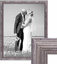 PHOTOLINI Bilderrahmen 40x50 cm Silber Barock