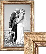 Photolini Bilderrahmen 40x60 cm Gold Barock Breit