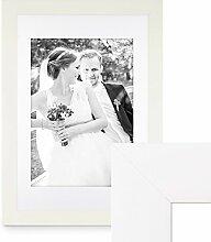 PHOTOLINI Bilderrahmen 60x80 cm Weiss Modern Breit