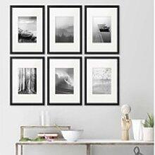 PHOTOLINI Bilderrahmen 6er Set 21x30 cm schwarz