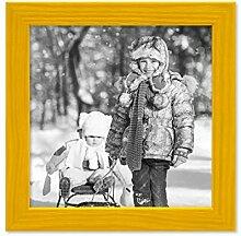 PHOTOLINI Bilderrahmen Gelb 15x15 cm Massivholz