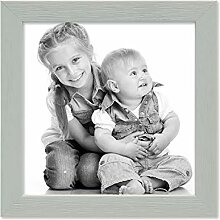PHOTOLINI Bilderrahmen Grau 15x15 cm Massivholz