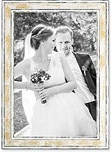 PHOTOLINI Bilderrahmen Pastell/Alt-Weiß Gold