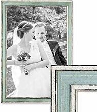 PHOTOLINI Bilderrahmen Pastell/Alt-Weiß Hellblau