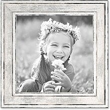 PHOTOLINI Bilderrahmen Pastell/Alt-Weiß Silber