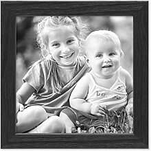 PHOTOLINI Bilderrahmen Schwarz 15x15 cm Massivholz