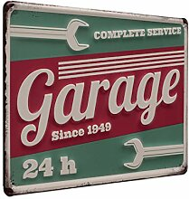 PHOTOLINI Blechschild Garage 24h 20x30 cm Retro
