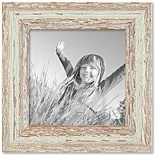 PHOTOLINI Vintage Bilderrahmen 15x15 cm Weiss