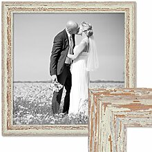 PHOTOLINI Vintage Bilderrahmen 40x40 cm Weiss
