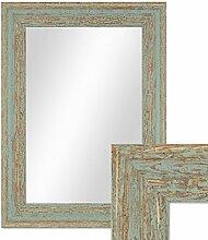 Photolini Wand-Spiegel 26x36 cm im Holzrahmen Grau-Grün Shabby-Chic Vintage/Spiegelfläche 20x30 cm