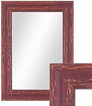 Photolini Wand-Spiegel 26x36 cm im Holzrahmen Rot-Braun Shabby-Chic Vintage/Spiegelfläche 20x30 cm