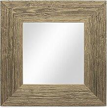 Photolini Wand-Spiegel 30x30 cm im Massivholz-Rahmen Strandhaus-Stil Breit Eiche-Optik Rustikal/Spiegelfläche 20x20 cm