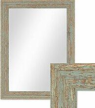 Photolini Wand-Spiegel 36x46 cm im Holzrahmen Grau-Grün Shabby-Chic Vintage/Spiegelfläche 30x40 cm