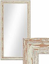 Photolini Wand-Spiegel 36x66 cm im Holzrahmen Weiss Shabby-Chic Vintage/Spiegelfläche 30x60 cm