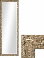 Photolini Wand-Spiegel 36x96 cm im Holzrahmen Strandhaus-Stil Eiche-Optik Rustikal/Spiegelfläche 30x90 cm