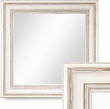 Photolini Wand-Spiegel 40x40 cm im Massivholz-Rahmen Landhaus-Stil Weiss Quadratisch/Spiegelfläche 30x30 cm