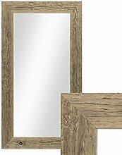 Photolini Wand-Spiegel 40x70 cm im Massivholz-Rahmen Strandhaus-Stil Breit Eiche-Optik Rustikal/Spiegelfläche 30x60 cm