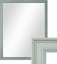 Photolini Wand-Spiegel 44x54 cm im Holzrahmen Skandinavisches Design Petrol/Spiegelfläche 40x50 cm