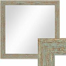 Photolini Wand-Spiegel 46x46 cm im Holzrahmen Grau-Grün Shabby-Chic Vintage Quadratisch/Spiegelfläche 40x40 cm
