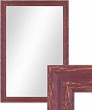 Photolini Wand-Spiegel 46x66 cm im Holzrahmen Rot-Braun Shabby-Chic Vintage/Spiegelfläche 40x60 cm