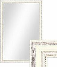 Photolini Wand-Spiegel 46x66 cm im Massivholz-Rahmen Landhaus-Stil Shabby-Chic Weiss/Spiegelfläche 40x60 cm