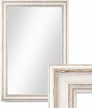 Photolini Wand-Spiegel 50x70 cm im Massivholz-Rahmen Landhaus-Stil Weiss/Spiegelfläche 40x60 cm