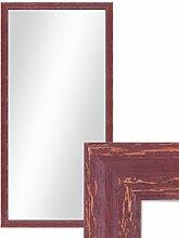 Photolini Wand-Spiegel 56x106 cm im Holzrahmen Rot-Braun Shabby-Chic Vintage/Spiegelfläche 50x100 cm