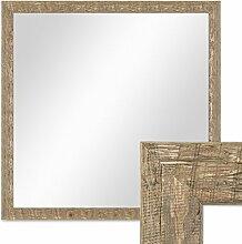 Photolini Wand-Spiegel 56x56 cm im Holzrahmen Strandhaus-Stil Eiche-Optik Rustikal Quadratisch/Spiegelfläche 50x50 cm