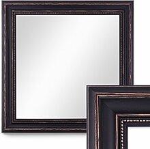 Photolini Wand-Spiegel 60x60 cm im Massivholz-Rahmen Landhaus-Stil Dunkelbraun Quadratisch/Spiegelfläche 50x50 cm