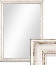 Photolini Wand-Spiegel 60x80 cm im Massivholz-Rahmen Landhaus-Stil Weiss/Spiegelfläche 50x70 cm