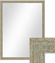 Photolini Wand-Spiegel 66x86 cm im Holzrahmen Grau-Grün Shabby-Chic Vintage/Spiegelfläche 60x80 cm