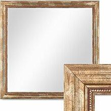 Photolini Wand-Spiegel 70x70 cm im Massivholz-Rahmen Barock-Stil Antik Gold Quadratisch/Spiegelfläche 60x60 cm