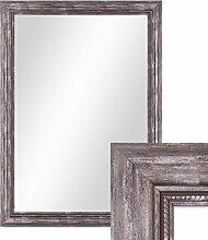 Photolini Wand-Spiegel 70x90 cm im Massivholz-Rahmen Barock-Stil Antik Silber/Spiegelfläche 60x80 cm