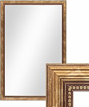 Photolini Wand-Spiegel ca. 46x66 cm im Massivholz-Rahmen Barock-Stil Antik Gold/Spiegelfläche 40x60 cm