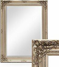 Photolini Wand-Spiegel im Barock-Rahmen Antik Silber mit Facettenschliff 64x84 cm/Spiegelfläche 50x70 cm