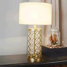 PIAOLING Amerikanische Bett Hohle Gold Lampe, Moderne Mode Hause Schreibtisch Lampe, Schlafzimmer Zimmer Wohnzimmer Studie Dekoration Beleuchtung