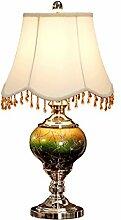 PIAOLING Amerikanische Luxus dekorative Tischlampe, moderne einfache blaue Glaslampe, kreative Mode Wohnzimmer Schlafzimmer Tischlampe