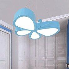 PIAOLING Moderne einfache LED-Schmetterling hängende Lichter, Acryl Lampenschirm, kreative Persönlichkeit Kinderzimmer Kindergarten Spielplatz Beleuchtung Kronleuchter ( Color : Blue )