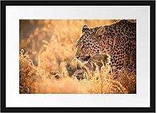 Picati Jagender Leopard Bilderrahmen mit