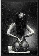 Picati Nackte Frau im Schattenfugen Bilderrahmen |