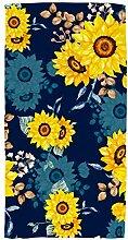 PICKIDS Handtuch, Sonnenblume, Aquarell, dunkel,