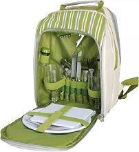 Picknick Rucksack mit Kühlfach 34x26x15cm grün weiß gestreift Esschert Design (39,95 EUR / Stück)