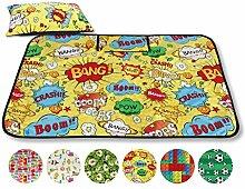 Picknickdecke Fotodruck, Auswahl: Größe - 200x200 cm - inkl. Kissen Design - Comic, Reiseunterlage Campingdecke Stranddecke