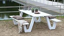 Picknicktisch Aludesign 'City' 220 cm weiß, hergestellt aus Aluminium