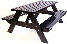 Picknicktisch 'City' schwarz 180 cm, Holz, Picknickbank schwarz, Trend aus Holland