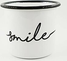 PICSonPAPER Emaille-Tasse mit Spruch Smile,