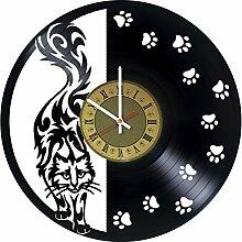 Pieceful Wanduhr aus Vinyl, Motiv: Schwarze Katze,