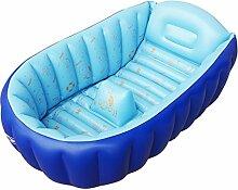 PIGE Aufblasbare Baby-Badewanne (für 0-5 Jahre), Portable Mini Air Schwimmbad Kinder Kleinkind Kleinkind Dick Faltbares Duschbecken mit weichen Kissen Zentral Sitz ( Farbe : Blau )